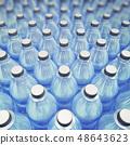 Hundreds of plastic bottles standing in line 48643623