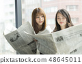 Two women reading a newspaper on the window side 48645011