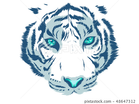 white Tiger Eyes Mascot Graphic in white background 48647312