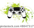 Gamepad for game console.The joystick for the console.The controller in the vector.Joystick vector 48647317