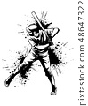 Baseball player, hitter swinging with bat, abstract isolated vector silhouette, ink drawing 48647322