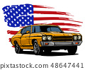 vector graphic design illustration of an American muscle car 48647441