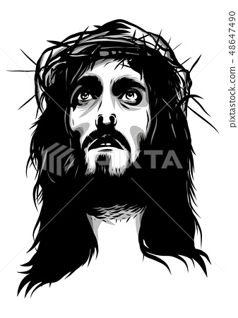 face of jesus with crown of thorns 48647490