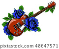 electric guitar on fire with blue flames 48647571