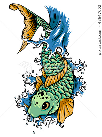 drawn chinese fish swimming in the water 48647602