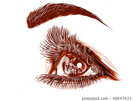drawing of a red eye of a woman 48647633