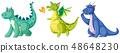 Set of cute dinosaur character 48648230