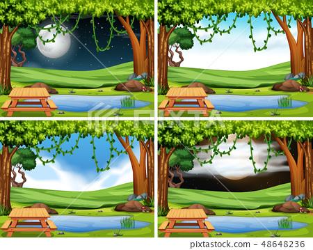 Set of park landscape 48648236