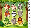 Animal sticker on nature background 48648396