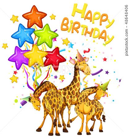 Giraffe on birthday template 48648406