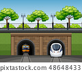 Modern and classic train scene 48648433