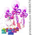 A unicorn with birthday theme 48648474
