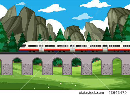 A modern rail travel to nature background 48648479