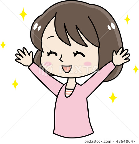 Young cute little girl / girl to be a banzai 48648647