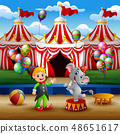 Circus elephant and trainer on the arena 48651617