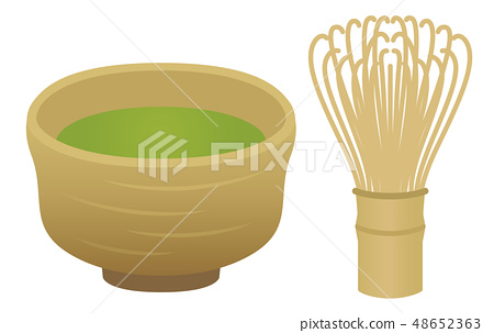 Matcha茶道和茶杯例證 48652363