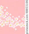 樱花水彩风格纹理 48653106