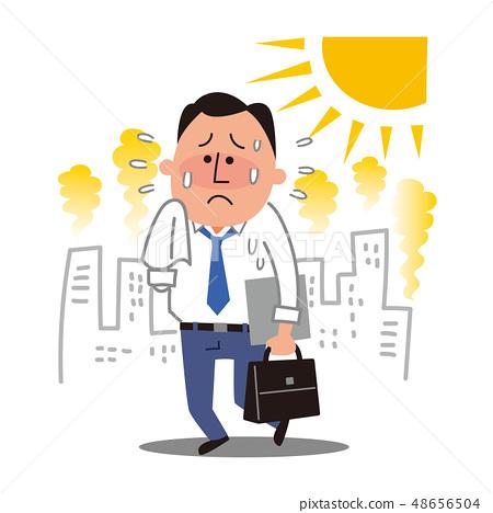 一個商人在一個炎熱的夏天 48656504