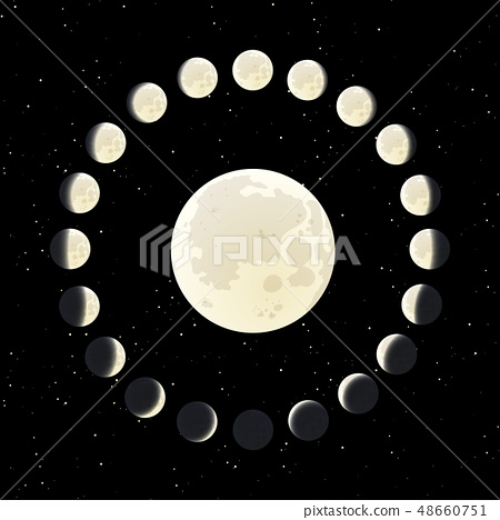 The Moon phase illustration with all range of the 48660751