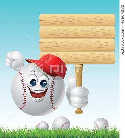 棒球球字符和標誌 48664272