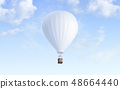 Blank white balloon with hot air mockup on sky background 48664440