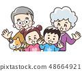 Grandparents and grandchildren and pet cats 48664921