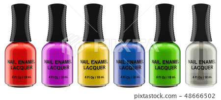 Row from colored nail polish bottles, 3D rendering 48666502