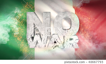 No war concept. Flag of Italy. Waved highly detailed fabric texture. 3D illustration. 48667793
