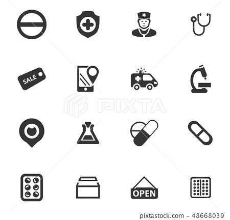 Drug store icons set 48668039