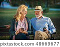 old age, technology and people concept - happy senior couple with smartphones at summer park 48669677
