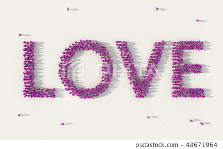 Large group of people forming Love lettering text 48671964