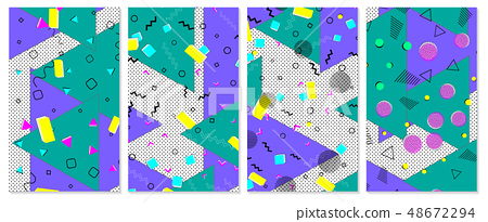 Set of memphis pattern. Pop art color background. 48672294
