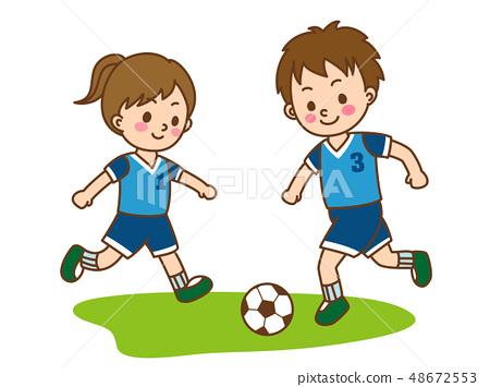 孩子們踢足球 48672553