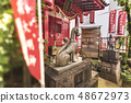 도쿄 키타 구 왕자시의 명소에도 백경의 판화에 그려진 여우 팽이 버섯 나무 아래 서 의복이나 리 신사. 48672973