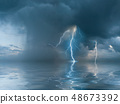 Landscape with the thunderstorm 48673392