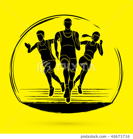 Start Running, Marathon runner graphic vector 48673716