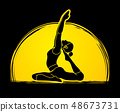 Yoga pose designed on moonlight background vector 48673731