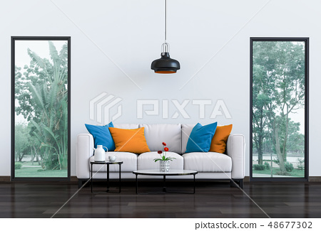 Interior living room and park landscape. 3D render 48677302