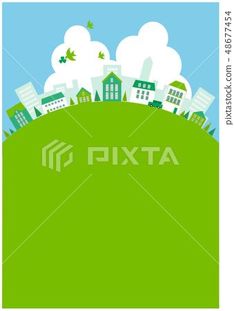 生態城市景觀綠色的山丘 48677454