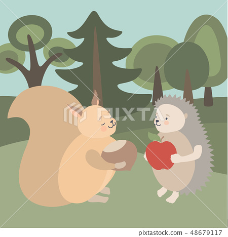 Cute animals Squirrel and Hedgehog in forest  48679117
