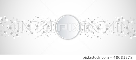 DNA strand and molecular structure. Genetic engineering or laboratory research. Background texture 48681278