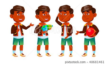 Indian Boy Kindergarten Kid Poses Set Vector. Preschooler Playing. Friendship. For Web, Poster 48681461