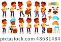 Indian Boy Kindergarten Kid Poses Set Vector. Little Child. Funny Toy. Lifestyle. For Advertising 48681484
