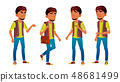 Arab, Muslim Boy Schoolboy Kid Poses Set Vector. Secondary Education. Young, Cute, Comic. For 48681499