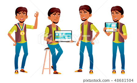 Arab, Muslim Boy Poses Set Vector. High School Child. Programmer, Technology. Winner. Young People 48681504
