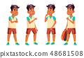 Arab, Muslim Boy Schoolboy Kid Poses Set Vector. High School Child. Clever, Studying. For Postcard 48681508