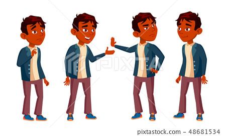 Indian Boy Schoolboy Kid Poses Set Vector. High School Child. Teenage. Book, Workspace, Board. For 48681534