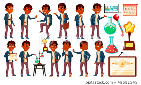Indian Boy Schoolboy Kid Poses Set Vector. High School Child. Children Study. Discovery, Experience 48681545