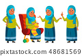 Arab, Muslim Old Woman Poses Set Vector. Elderly People. Senior Person. Aged. Cheerful Grandparent 48681569