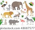 Set of cute African animals icons isolated on white background, crowned crane, lemur, elephant 48687577